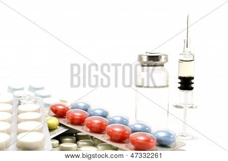 Tablets, The Syringe With An Ampoule