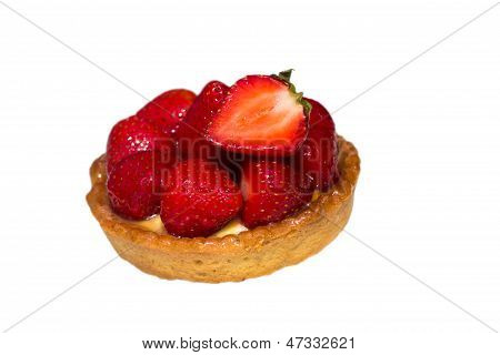 Strawberry Tart on a white Plate, close up