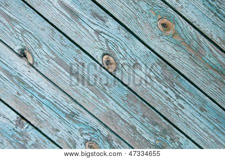 Old Chapped Blue Wooden Background