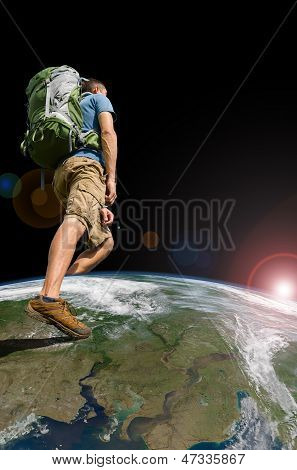 Hiker Exploring The World