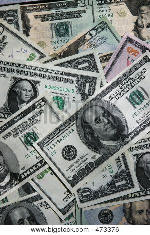 Dollar Bills Background Close-up
