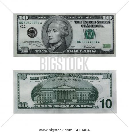 Ten Dollar Bill With Path