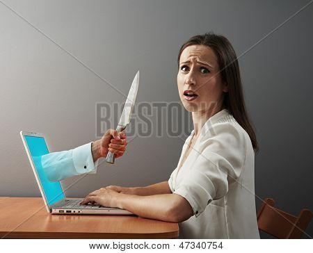 young woman afraid virtual maniacs