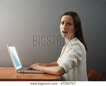 scared woman with laptop. concept photo of economic crisis