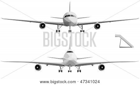 Vector Illustration Set Of Big Airplane In Front.