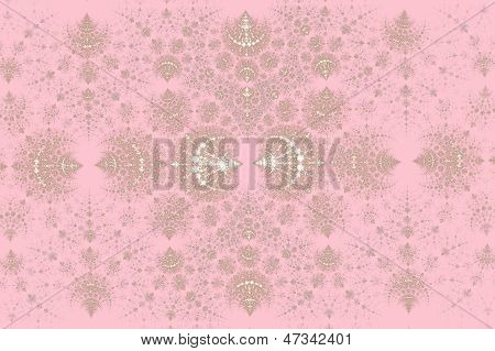 Gentle abstraction in the form of a silver pattern on a pink background