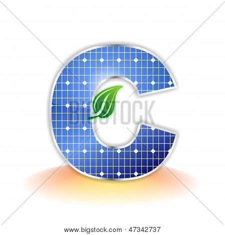solar panels texture, alphabet capital letter C icon or symbol