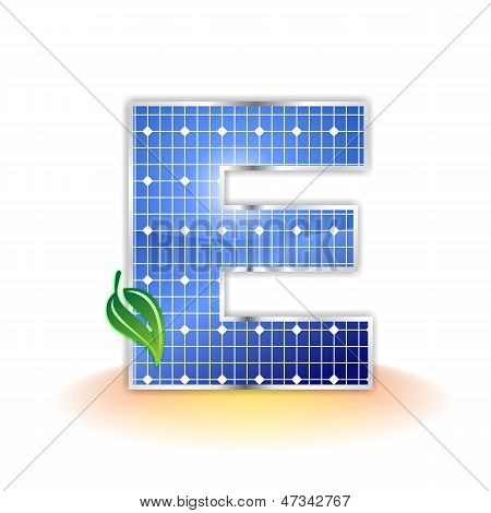 solar panels texture, alphabet capital letter E icon or symbol