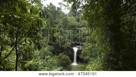 Thailand - Khao Yai National park - waterfall in a green deep jungle