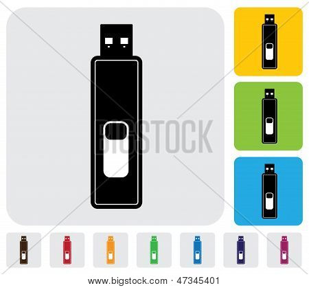 Pendrive Or Usb Drive Or Microdrive Device For Data Storage- Vector Graphic