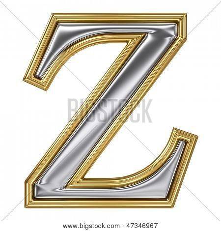 Metal silver and gold alphabet letter symbol - Z