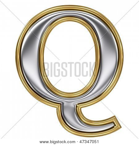 Metal silver and gold alphabet letter symbol - Q