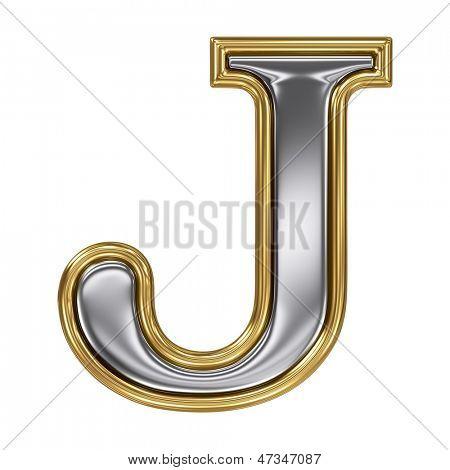 Metal silver and gold alphabet letter symbol - J