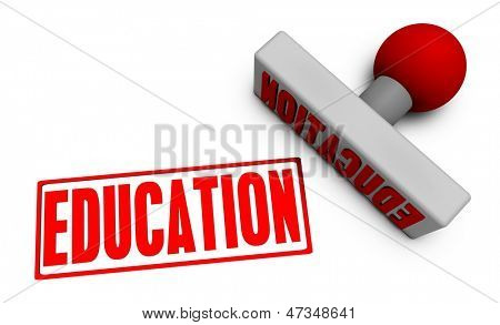 Education Stamp or Chop on Paper Concept in 3d
