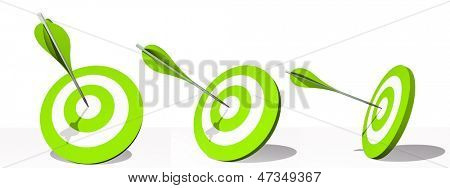 High resolution concept or conceptual green darts set target board with an arrow in the center isolated on white background