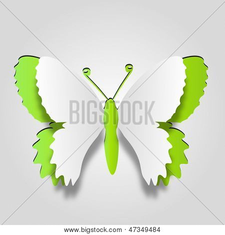 High resolution 3D abstract concept or conceptual white paper with green background butterfly shape or symbol