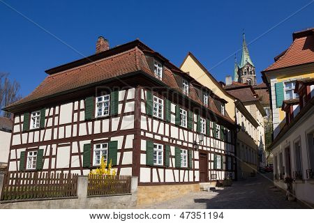 A Half-timbered House In Bamberg, Germany.