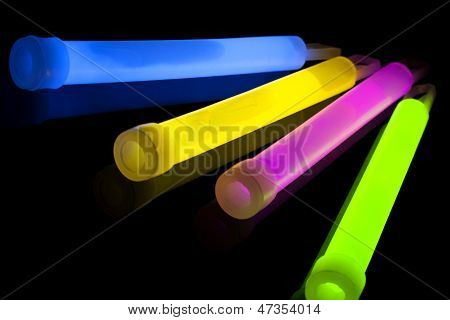 Closeup of multicolor glow sticks