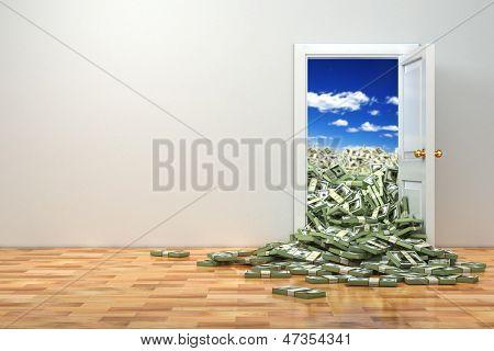 Concept of wealth. Opening door and heap dollar. 3d