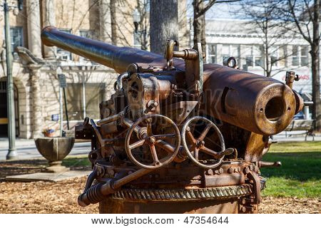 Old Howitzer In A Public Park