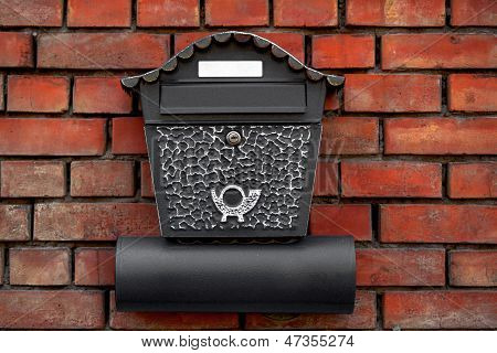 Vintage Postbox On Brick Wall