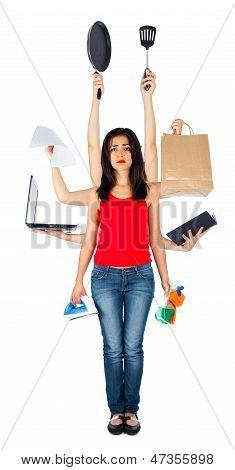 Sad Multitasking Woman