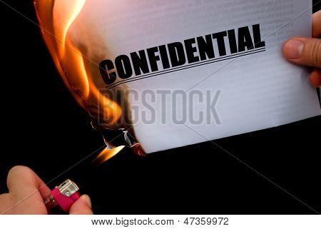 Burning A Confidential Paper Document