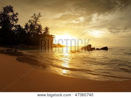 Tropical sandy beach of Andaman sea. Thailand