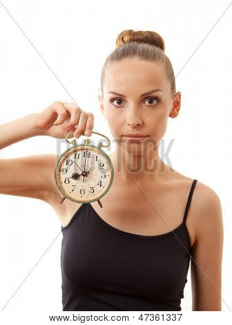 woman with alarm clock, isolated on white background