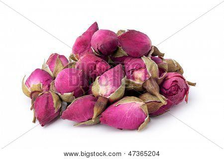 tea rose flowers; isolated on white background