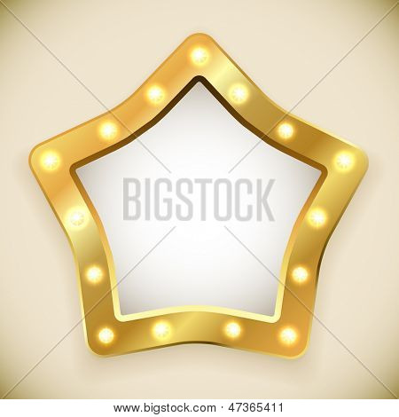 Blank golden star frame with light bulbs vector illustration.