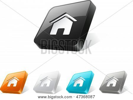 3D Web Button With Home Icon