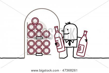 man in cellar & bottles of wine