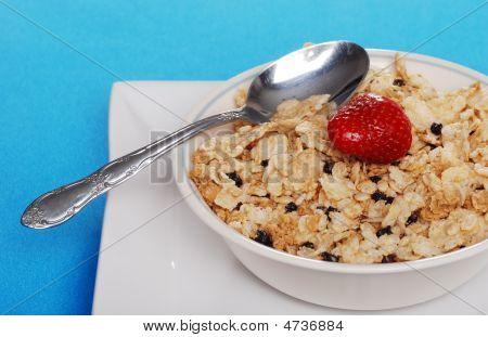 Tigela de cereais com morango de mirtilos e uma colher