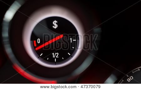 Dollar Sign Fuel Gauge Nearing Empty.