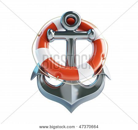 Anchor And Life Buoy On A White Background