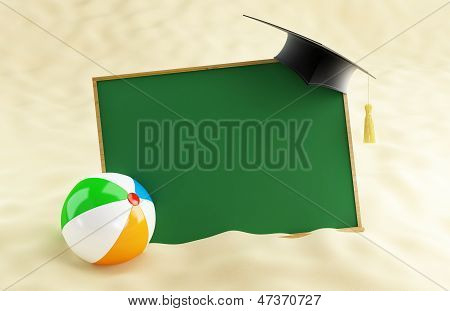 School At The Beach, Graduation Cap Blank, Beach Ball