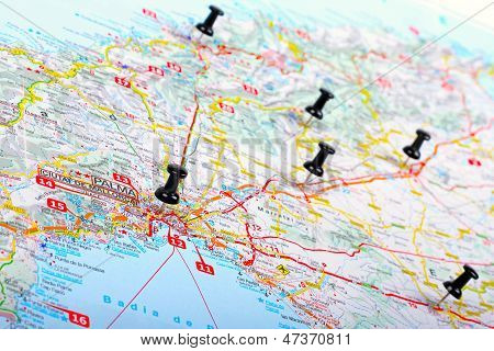 Pushpins Shows Destination Points On A Map