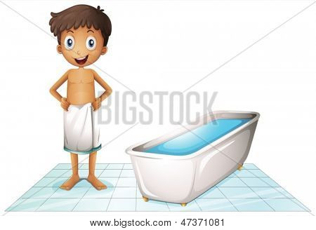 Illustration of a boy in the restroom on a white background