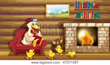 Illustration of a duck and her ducklings near the fireplace