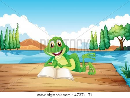 Illustration of a frog reading a book at the wooden diving board