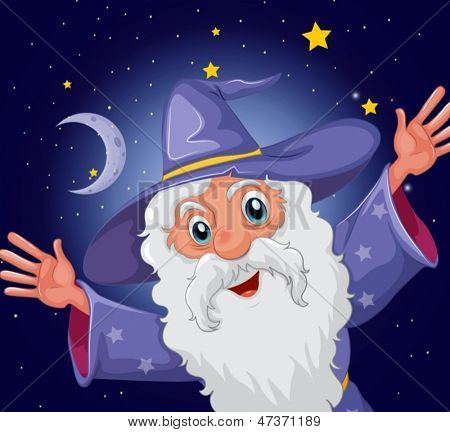 Illustration of a happy old wizard