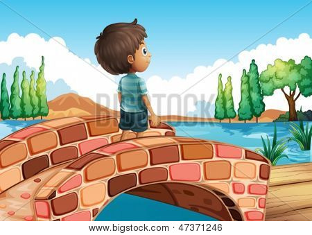 Illustration of a boy at the bridge