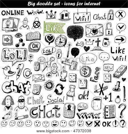 Big doodle set - web icons