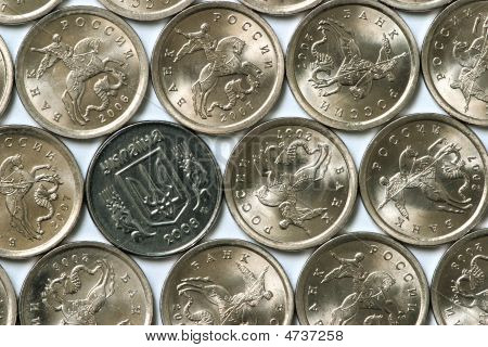 Ukrainian Coin Among Russian Coins