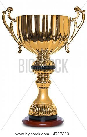 Photo of a large gold trophy on a wooden stand, isolated on a white background with clipping path.