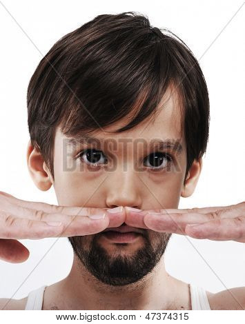 Half face kid growing to adult with beard, conceptual image