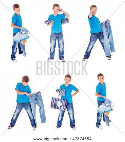Boy with denim clothing collection