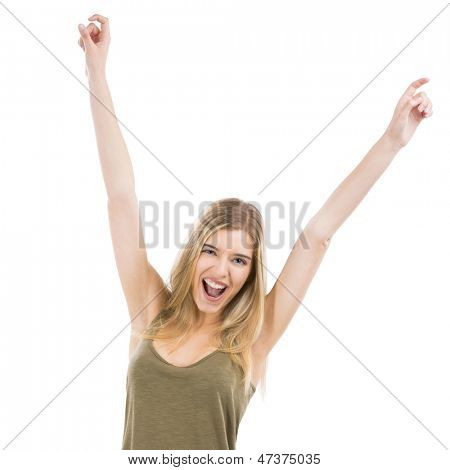A beautiful blonde woman really happy with both arms on the air, isolated over white background