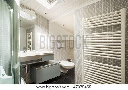 interior, modern bathroom in an old loft